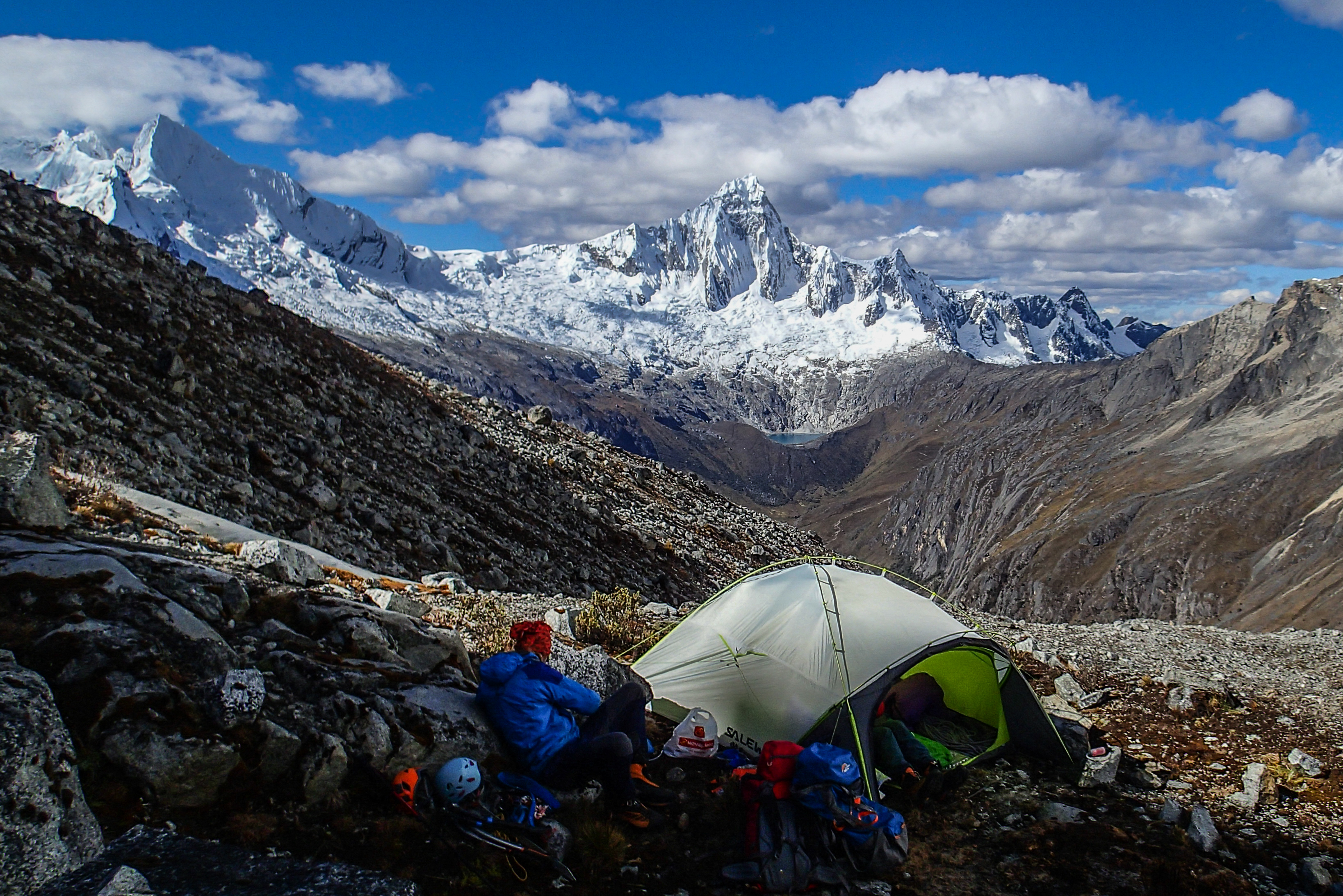 Person camping in the Santa Cruz Trek